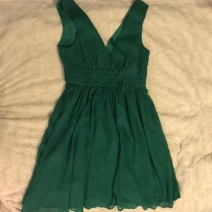 Double v green dress